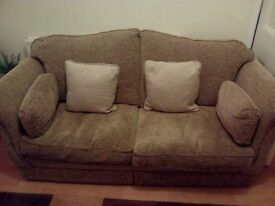 Two seater sofa and two armchairs beige good condition
