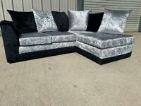 Silver/black corner sofa, couch, suite, furniture 🚚🚛 3 months old