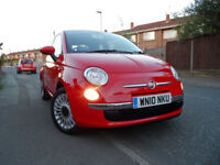 2010 10 Fiat 500 1.2 Lounge, 52,000 miles in Red - Air con - Pan roof - Immaculate condition