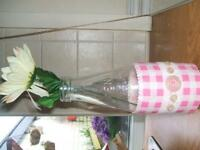 pretty handmade vase from vintage milk bottle with flowers gift