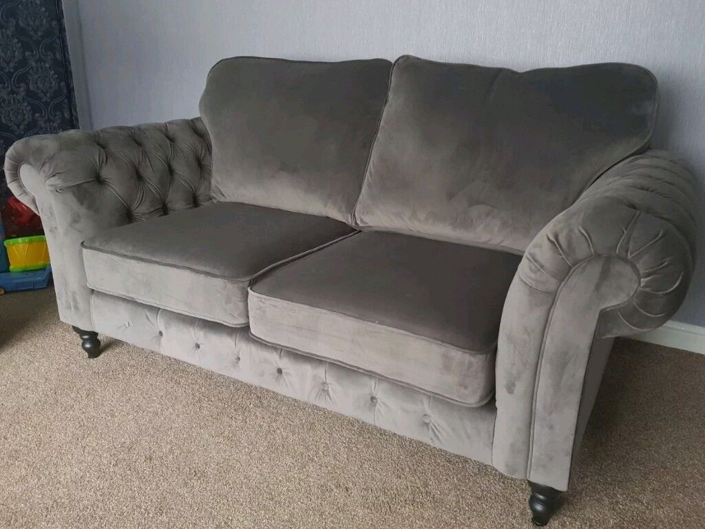 Ikea Grevie Chesterfield Sofa Velvet Grey In Walsall West Midlands