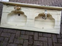 Genuine marble double basin - single piece