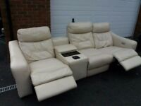 Cream Leather Electric Recliner sofa