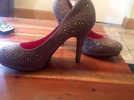 Brand new taupe and gem heels