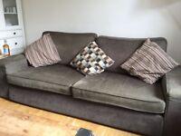 3 seater Sofa from Ikea Kivik range; designer habitat leather rocking chair; brown leather footstool