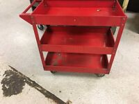 3 shelf red metal tool trolley on wheels not Snap On