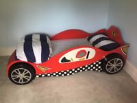 Child's Single Bed - Red Racing Car design by Haani including tyres and racing number 3yrs plus