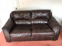 Large 2 seater Leather Sofa Brown