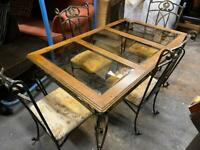WOOD + GLASS DINING TABLE + 4 CAST IRON CHAIRS