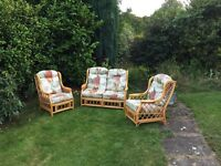 3 piece suite sofa 2x armchairs conservatory wicker garden seats settee bargain