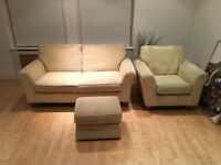 Beige sofa set - 2 seater + 1 seater + pouffe NEED GONE BY 26/2/18