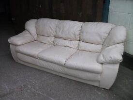 Leather Sofa white good condition slight cracking on one seat Delivery available £20