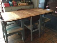 Shabby chic vintage retro extending dining table and 6 x chairs Annie Sloan Paris grey