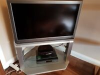 """37"""" Toshiba tv with stand , DVD player and top up tv box."""