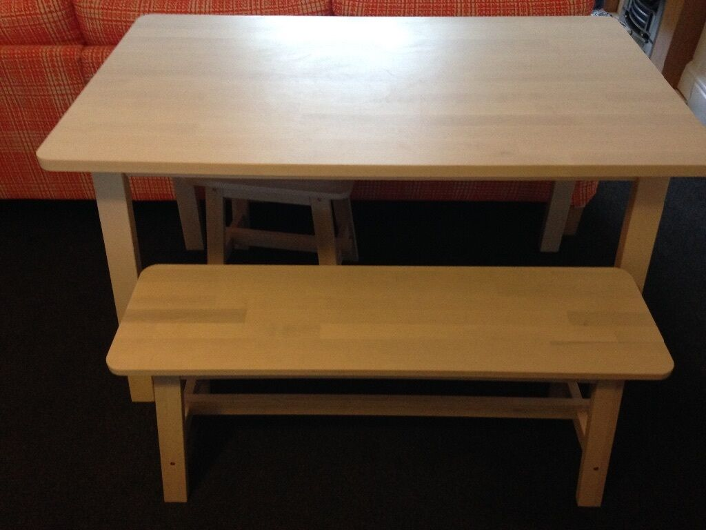 Norraker ikea table bench and 2 stools in treorchy for Table ikea 4 99