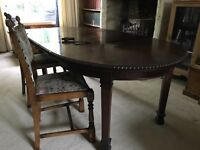 DINING ROOM TABLE WITH EIGHT CHAIRS WIND OUT EXTENDABLE