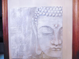 LARGE 2FT SQUARE ARTISAN STYLE HAND PAINTED BUDDHA WALL BOARD