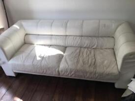 X2 cream leather sofas