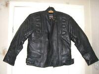 Rhino Motorcycle/Motorbike Black Leather Jacket Size 12 EU 42