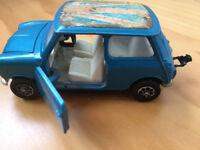 Vintage Corgi British Leyland Mini 1000, blue/dark turquoise, original flag model, toy. £4 ovno.