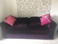 Habitat Louis 4 seater + 2 seater purple velvet sofas