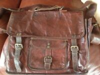 Antique Leather Satchel approx 39 x 34 cms
