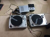numark dj equipment 2 turntables ,mic headphones amp black dj table/unit £250 ono