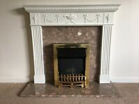 Fireplace with Marble and Brass Grate and Surround plus Electric Coal Effect Fire.