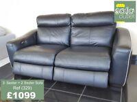 Designer Black Leather 3 + 2 Seater sofa (329) £1099