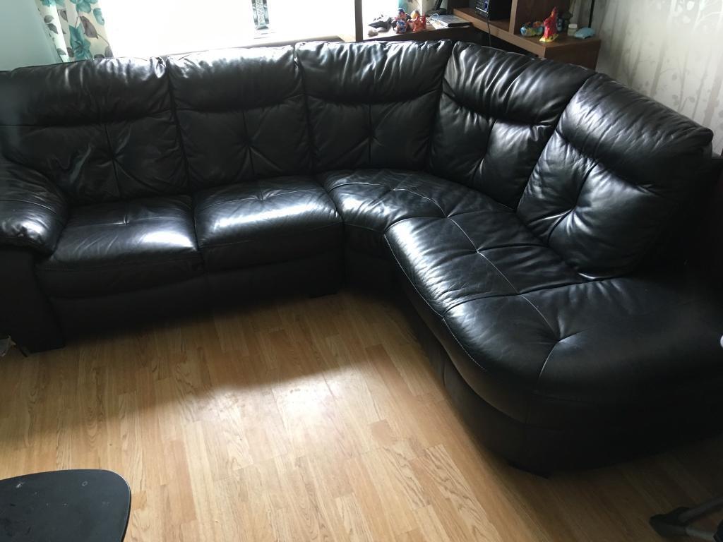 Leather corner sofa, large cuddler& footstool dfs
