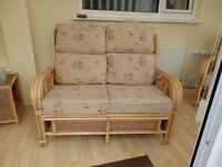 Cane two seater conservatory sofa