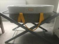 Mokee Woolnest Moses Basket in yellow and grey