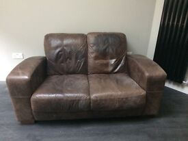 Leather 2 seater brown sofa