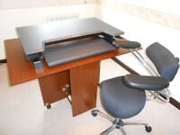 stand/sit desk top computer table and office chair