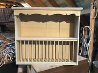 Antique Pine Plate Rack with Shelf, painted Annie Sloan Country Grey and waxed, 89cm x 77cm x 25cm