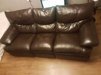 BROWN 3 seater leather reclining sofa