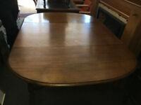Great Looking Heavy, Great Quality Large Vintage Oval Solid Oak Drop Leaf Dining Table