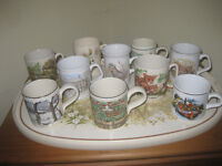 Tray and ten assorted mugs