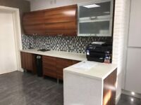 KITCHEN SHOWROOM DISPLAY SET OUT AS OFFICE IN WALNUT VENEER