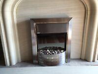Lime stone fireplace and surround with electric fire