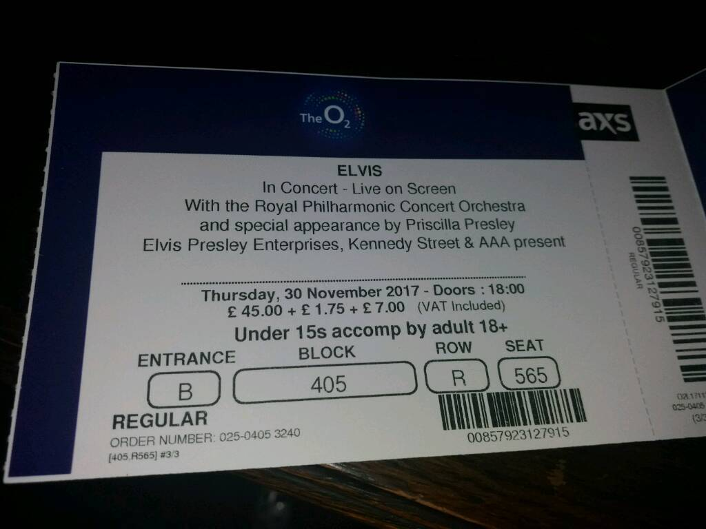Elvis ticket for o2