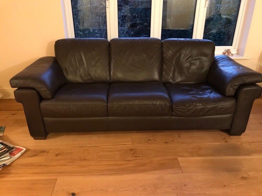 Natuzzi Italian Leather Sofa in Dark Brown (large) | in Easingwold ...