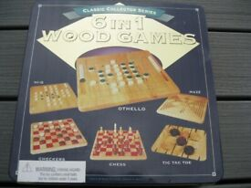 Vintage Classic Collector Series-6 in 1 Wooden Games In Original Tin - Excellent Condition