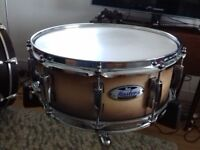 Pearl Masters 14x5 maple snare drum.