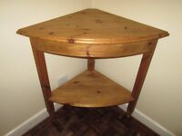 Corner Table - Solid Pine with Shelf