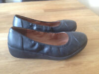 FITFLOP F-POP BALLERINA FLATS BLACK LEATHER Used Size 3 (UK)