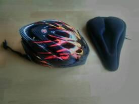 Bike accessories: Helmet and foam seat cover