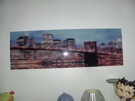 glass picture light up brooklyn bridge vgc 5ft x16in.