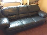 3 Seater Leather Sofa - Blue