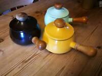 Retro enamel cooking pots/pans